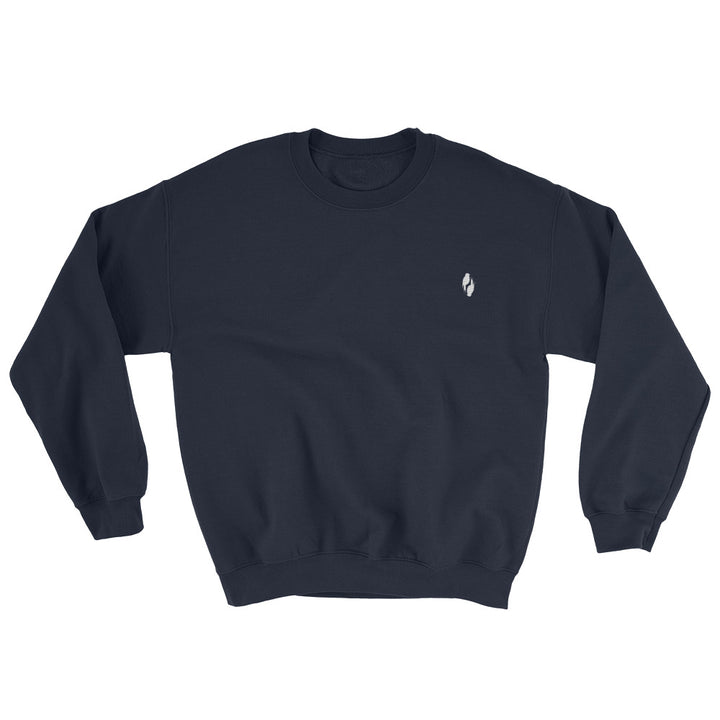 Comfy AF Navy sweatshirt with two grey embroidered birds on the top right corner of the sweatshirt.