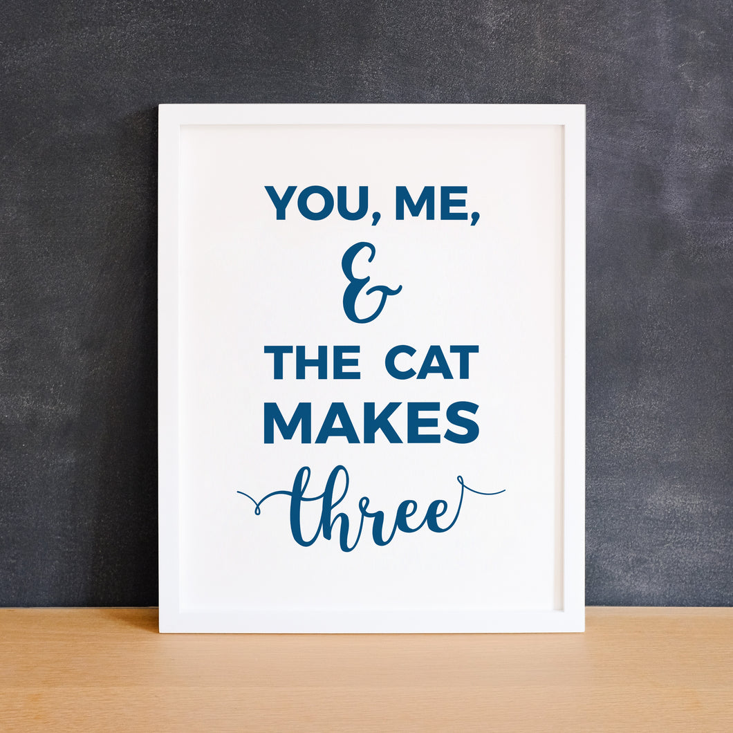 You Me and Cat Makes Three Digital Art Print