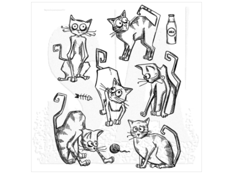 Tim Holtz Idea-ology Crazy Cats Cling Stamps