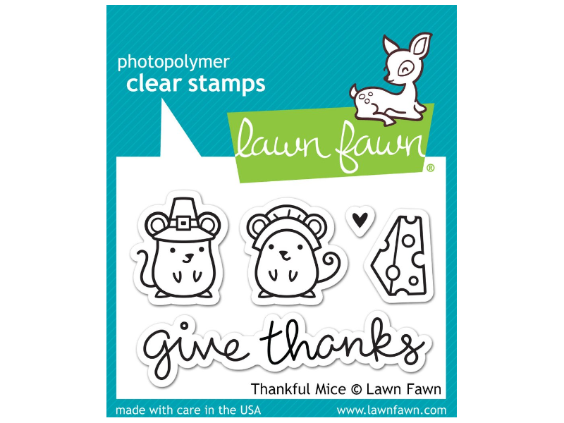 Lawn Fawn Thankful Mice Cling Stamp Set