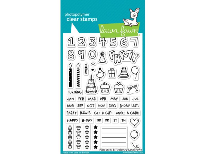 Lawn Fawn Plan on it Birthdays Cling Stamp Set