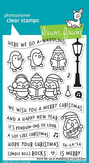 Lawn Fawn Here We Go Waddling Cling Stamp Set