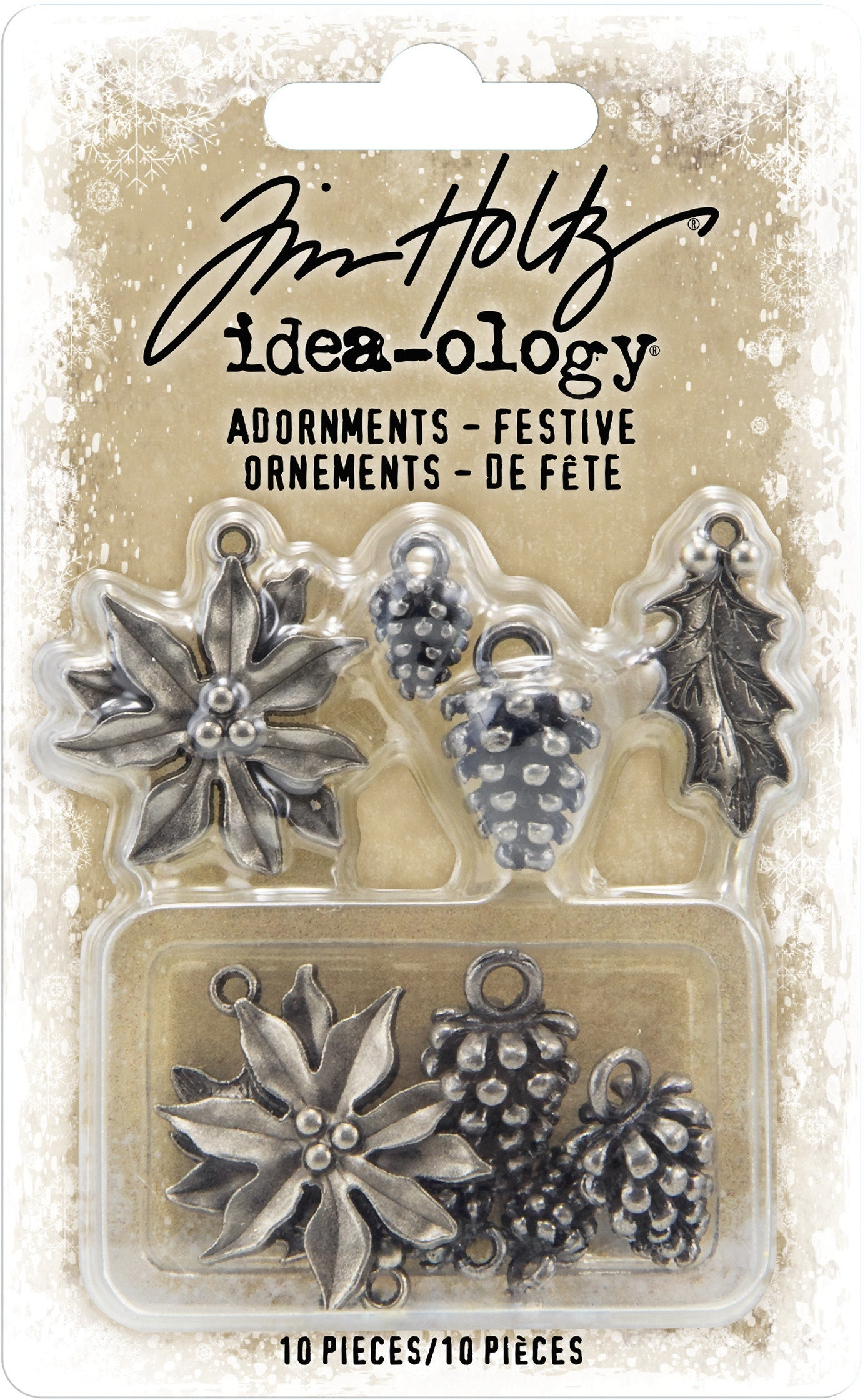 Tim Holtz- Idea-Ology Metal Adornments -Antique Nickel Festive
