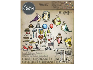 Sizzix Tim Holtz Collections Mini Bird Crazy and Things Framelits Die Set