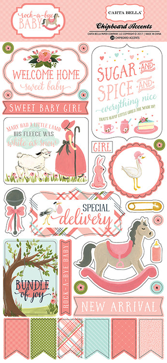 Carta Bella Rock-a-bye-Baby Chipboard Pieces