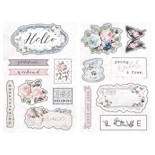 Prima - Poetic Rose Collection - Chipboard Stickers