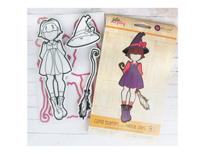 Prima Julie Nutting Cling Stamp Set and Metal Dies Lil Witch