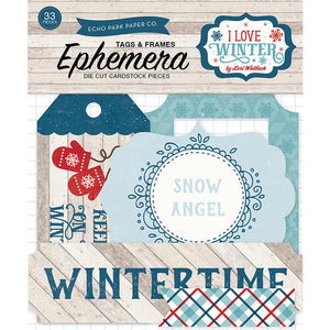 Echo Park - I Love Winter Collection - Ephemera - Frames and Tags