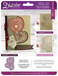 Die'sire Create-a-Card Cut on Edge 3 Metal Cutting Dies Decadent Hearts