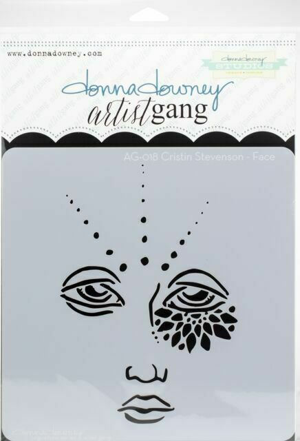 "Donna Downey Artist Gang Stencils 8""x8"" Face"