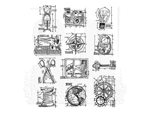 Stampers Anonymous Tim Holtz Cling Mount Stamps: Mini Blueprints 3