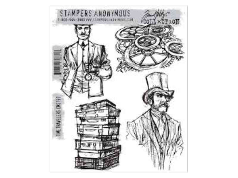 Stampers Anonymous Tim Holtz Time Travelers Cling Stamp`