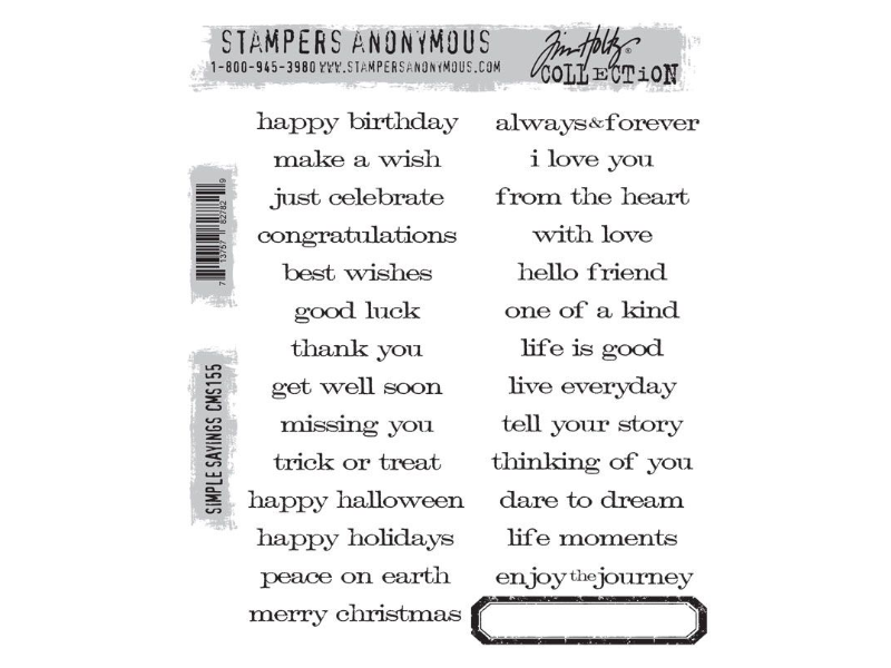 Stampers Anonymous Tim Holtz Cling Mount Stamps: Simple Sayings