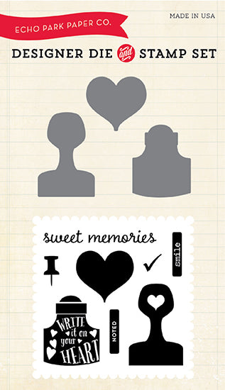 Echo Park - Creative Agenda Collection - Designer Die and Clear Acrylic Stamp Set - Sweet Memories