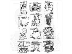 Stampers Anonymous Tim Holtz Cling Mount Stamps: Mini Blueprints 8