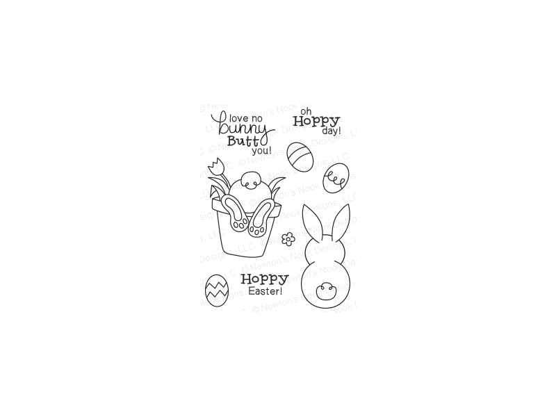 Newtons's Nook Bunny Hop Cling Stamp Set