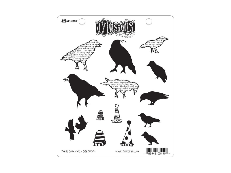 Ranger Dyan Reaveley's Dylusions Birds on a Wire Cling Stamp Set