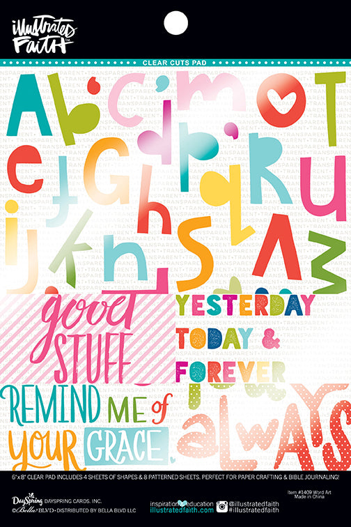 Bella Blvd - Illustrated Faith - Basics Collection - 6 x 8 Clear Cuts Pad - Word Art