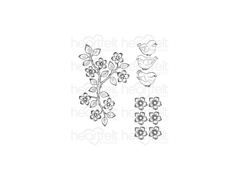 Heartfelt Creations Birds and Blooms Collection Cling Stamp Set