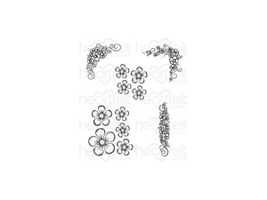 Heartfelt Creations Berry Blossoms Cling Stamp Set
