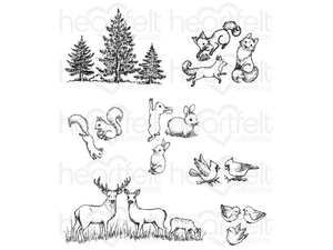 Heartfelt Creations Woodsy Critters Cling Stamp Set