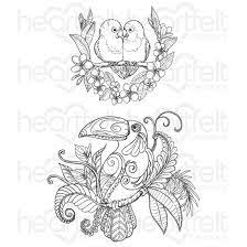 Heartfelt Creations Tropical Parrots Cling Stamp Set