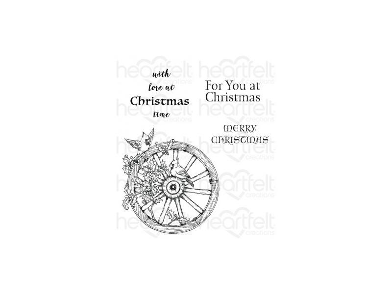 Heartfelt Creations Festive Holly Collection Festive Holiday Cling Stamp Set