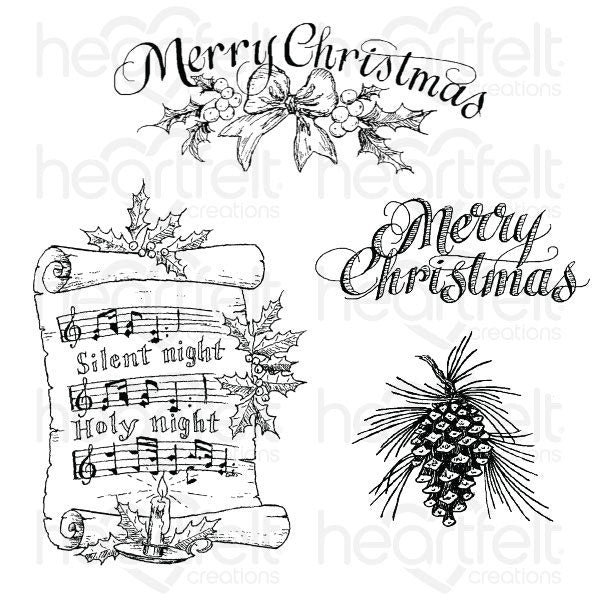 Heartfelt Creations Silent Night Scroll Cling Stamp Set