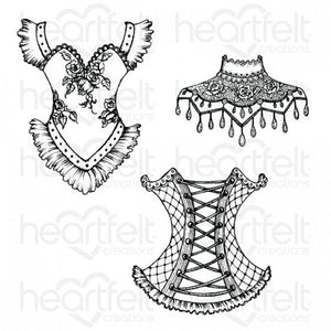 Heartfelt Creations Floral Corset Cling Stamp Set