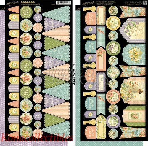 Graphic 45 Secret Garden Banners and Tags