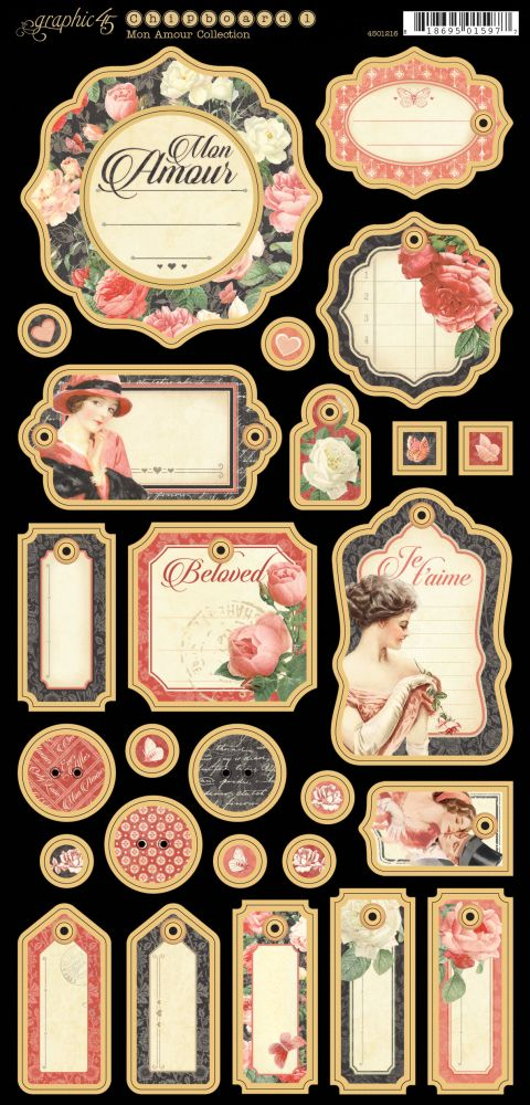 Graphic 45 Mon Amour Collection Chipboard #1