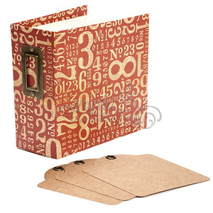 Graphic 45 Red Numbers Square Tag & Pocket Album