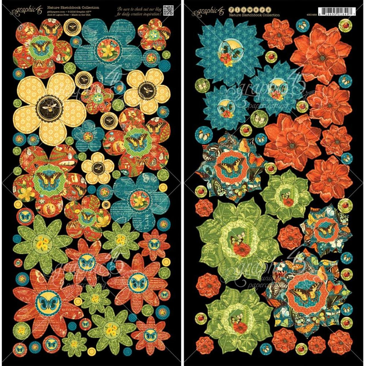 Graphic 45 Nature Sketchbook Collection Die Cut Flowers