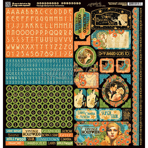 Graphic 45 Vintage Hollywood 12 x 12 Sticker Sheet
