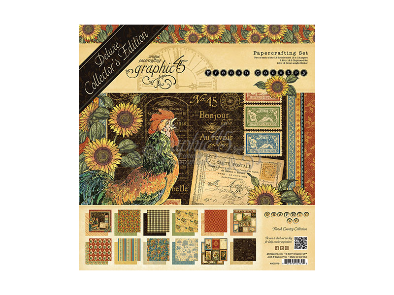 Bonjour Graphic 45  2 sheets French county collection double sided 12 x 12
