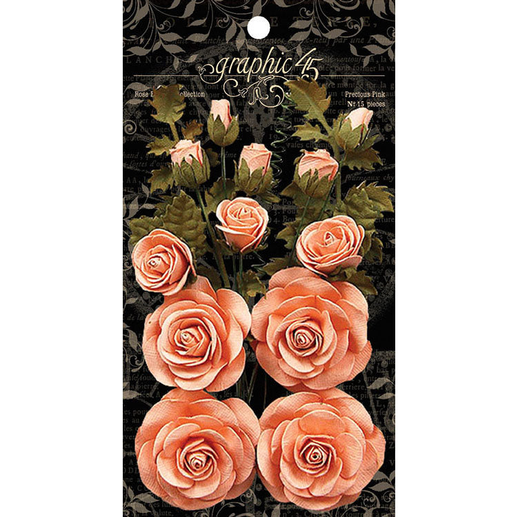Graphic 45 - Rose Bouquet Collection - Floral Embellishments - Precious Pink