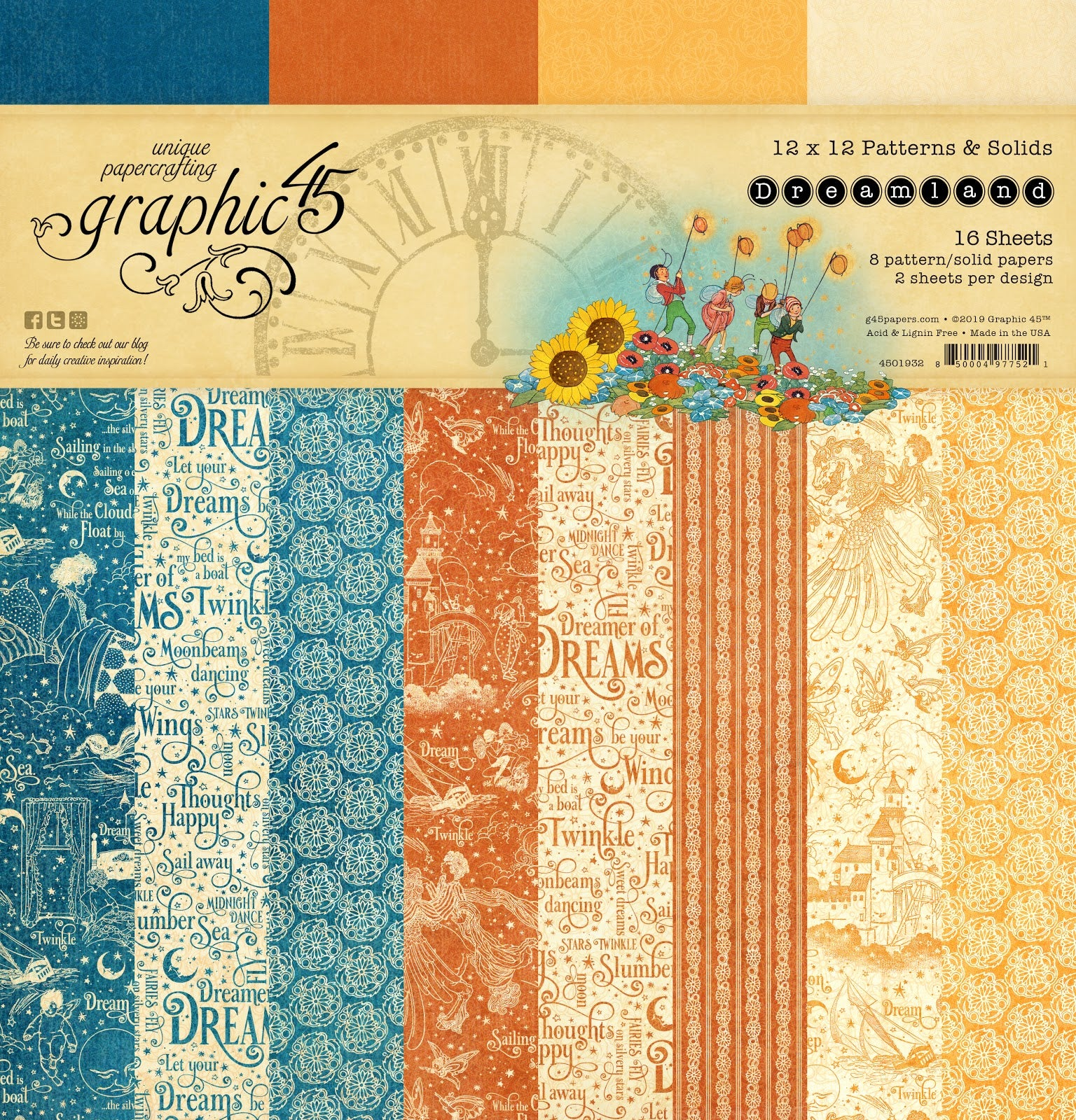 Graphic 45 Dreamland Collection 12 x 12 Patterns and Solids Paper Pad