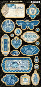 Graphic 45 Ocean Blue Collection Chipboard Pieces