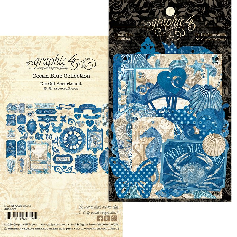 Graphic 45 - Ocean Blue Collection - Die Cut Assortment