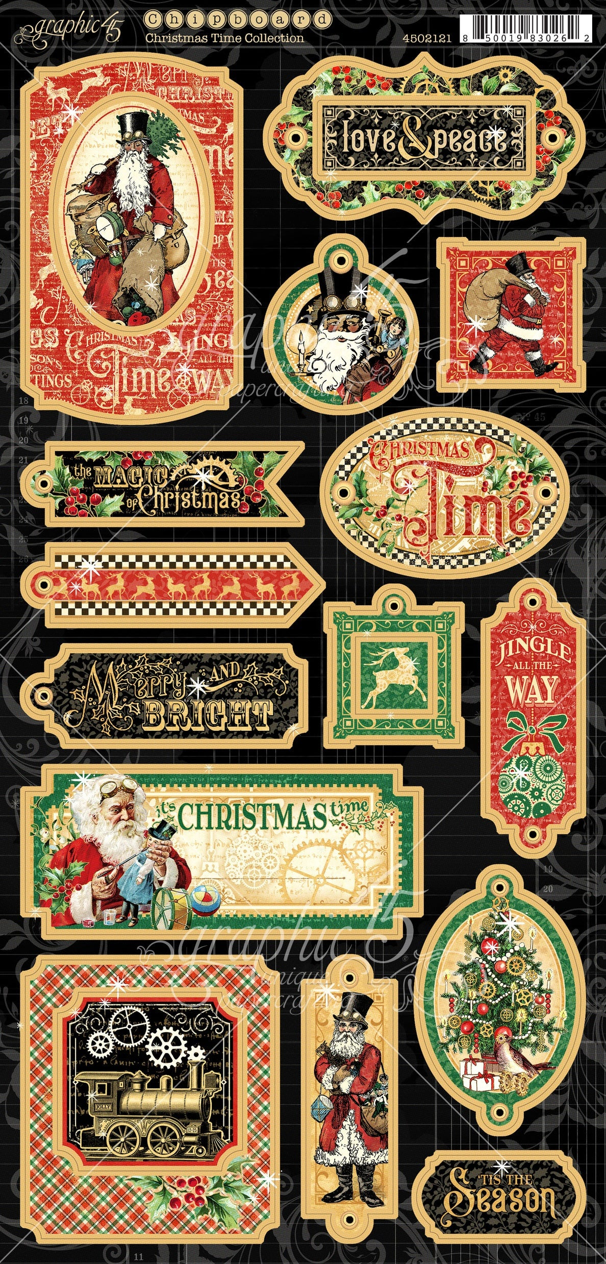 Graphic 45 Christmas Time Collection Chipboard Pieces