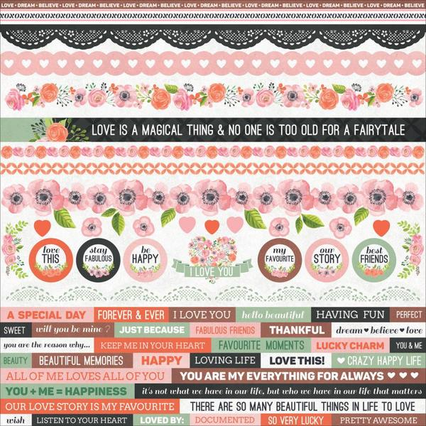 Kaisercraft - True Love Collection - 12 x 12 Sticker Sheet