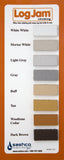 Log Jam Chinking color chart