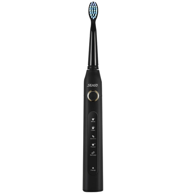 Portable Sonic Electric Toothbrush 2 Replaceable Brush Heads For Adult USB Rechargeable