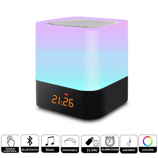 DONWEI Rechargeable RGB Night Light Indoor Bedside Atmosphere Lamp Support Alarm Clock Bluetooth Speaker Music Playback Function