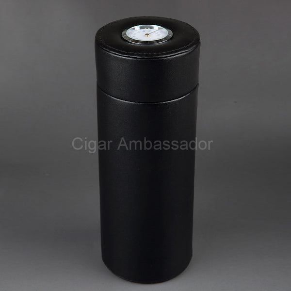 COHIBA MINI Gadgets Leather Cedar Wood Lined Cigar Tube Portable Jar Mini Humidor Inside with Black Long Humidifier Hygrometer