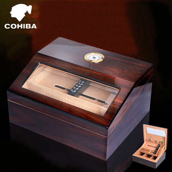 Luxury Cuban Double-Deck Cigar Humidor with High Glossy Finish