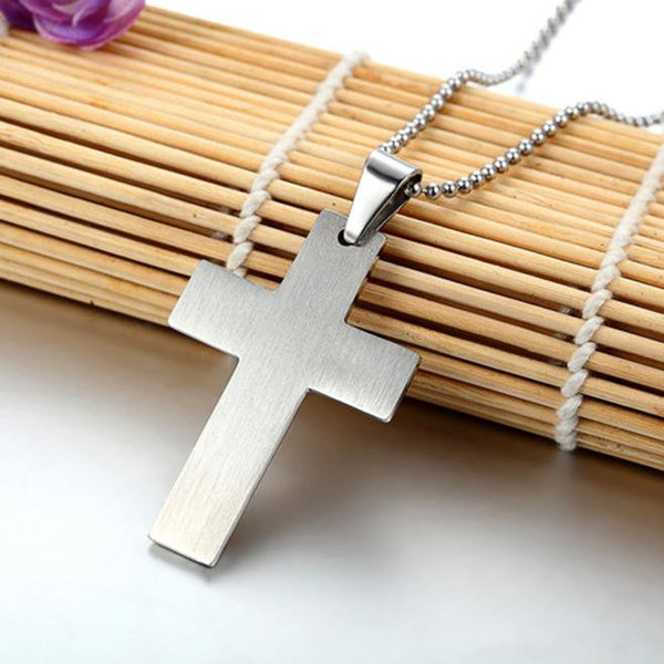 Unisex Men Stainless Steel Cross Pendant Silver Necklace