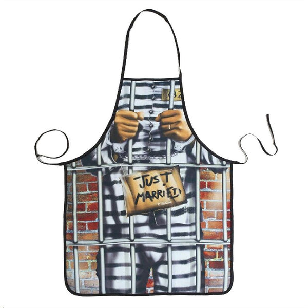 Novelty Cooking Kitchen Apron Prisoner Man Printed Apron Cooking Grilling BBQ Apron