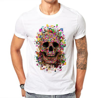 100% Cotton Men T Shirts Harajuku Fashion Digital Colorful Skull Design Short Sleeve Casual Tops Skull Printed T-Shirt Cool Tee