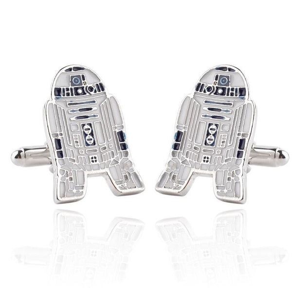 R2D2 Robot Silver Color Menjewelry Men Accessory Cuff Links